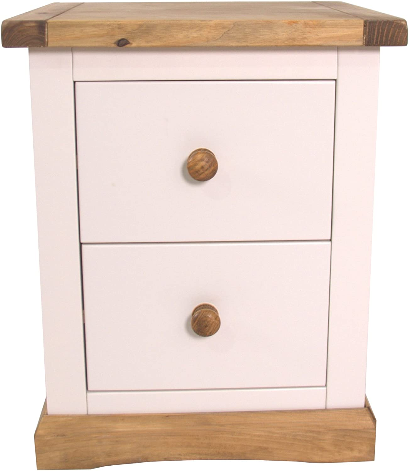 2 Drawers Antique Wax Solid Wood Night Stand