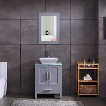 Amazon Com 24 Grey Bathroom Vanity Cabinet And Sink Combo Glass Top Mdf Wood W Sink Faucet Drain Set Kitchen Dining