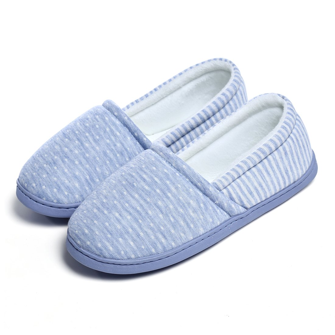Cellicigal Women Cotton Knit Anti-Slip Comfort Indoor Slippers Slip-On Bedroom Home Shoes (8-8.5 B(M) US, Blue)