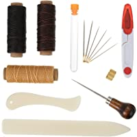 Shappy 15 Pieces Bookbinding Kit Starter Tools Set Bone Folder Paper Creaser Waxed Thread Awl Large-eye Needles for DIY Bookbinding Crafts and Sewing Supplies