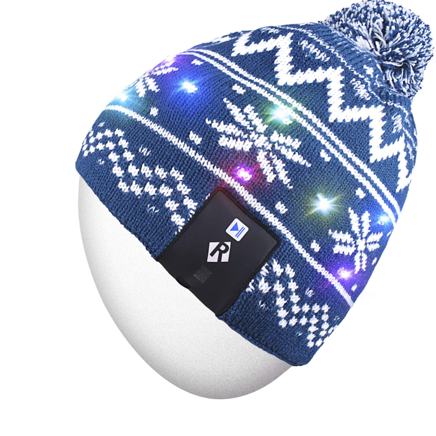 Rotibox LED String Light Up Beanie Hat Knit Cap with Copper Wire Colorful Lights 4 feet 18 LEDs for Men Women Indoor and Outdoor, Festival, Holiday, Celebration, Parties, Bar, Blue