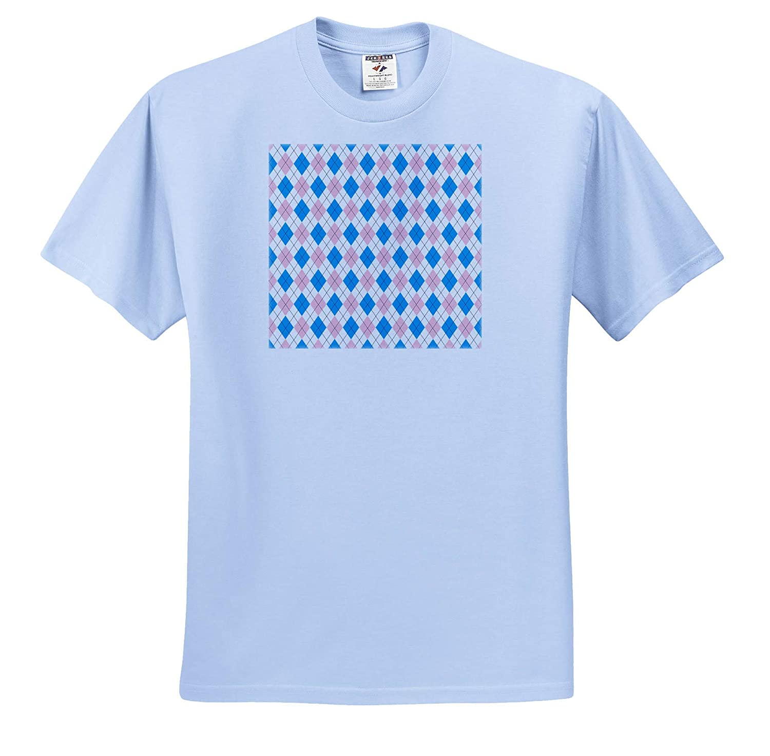 Blue Argyle Decorative Pattern Image of Pink Pattern Geometrical ts/_319779 3dRose Alexis Design Adult T-Shirt XL