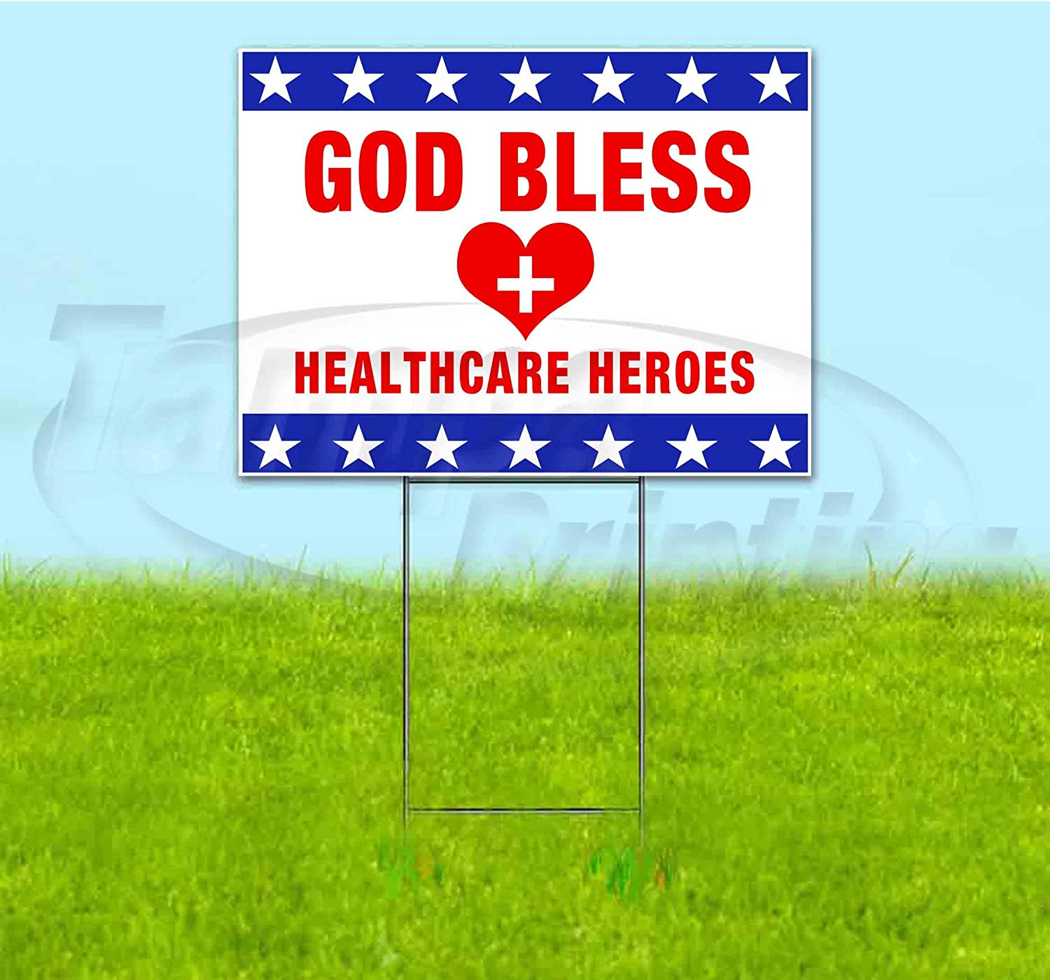 Lawn Decorations Bandit Corrugated Plastic Yard Sign God Bless Healthcare Heroes USA New 18x24 Advertising