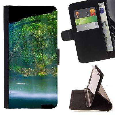 FJCases Cascadas Naturaleza Río Agua Carcasa Funda Billetera con Ranuras para Tarjetas y Soporte Plegable para Samsung Galaxy J7 V/Galaxy J7 Perx