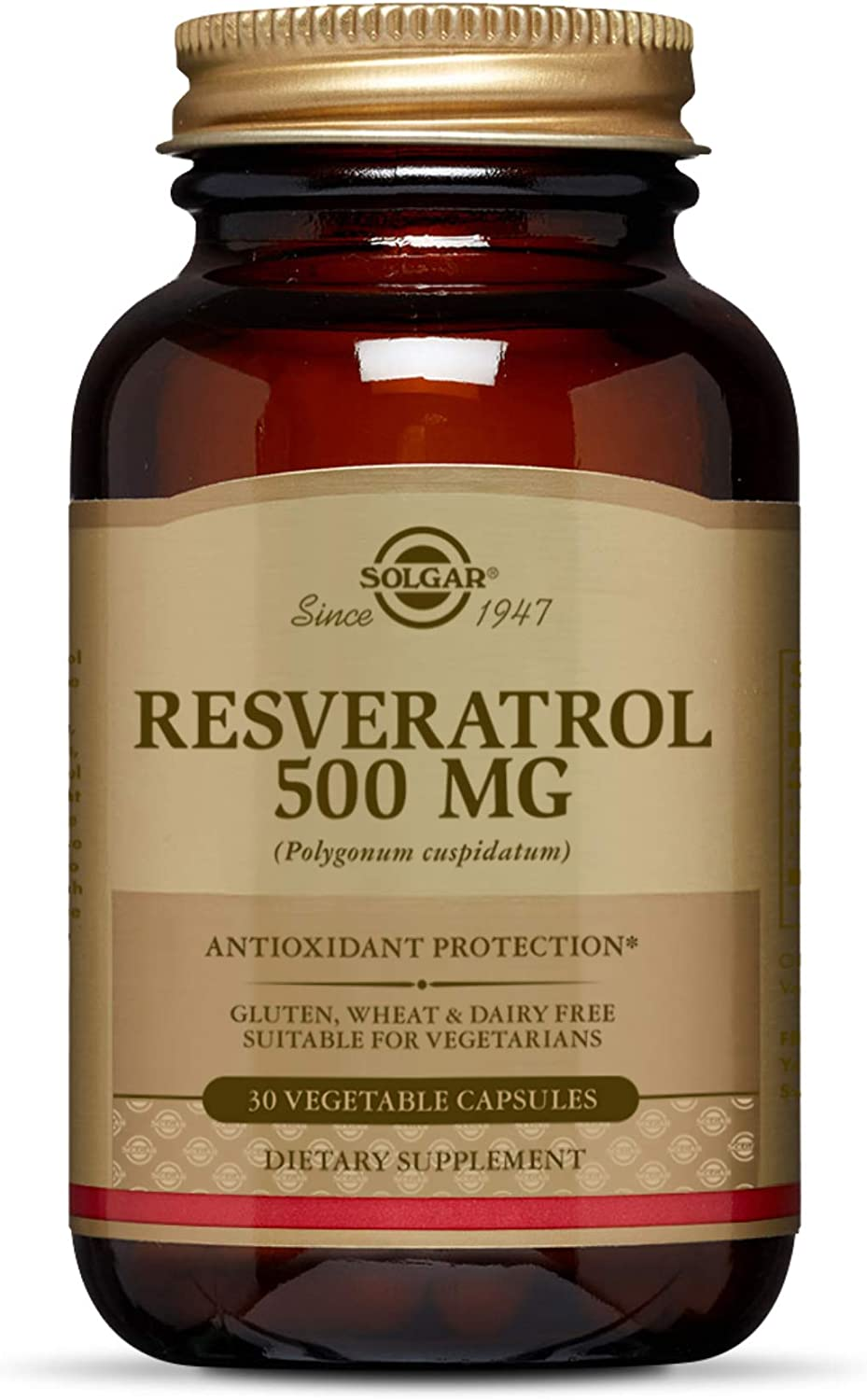Amazon Com Solgar Resveratrol 500 Mg 30 Vegetable Capsules