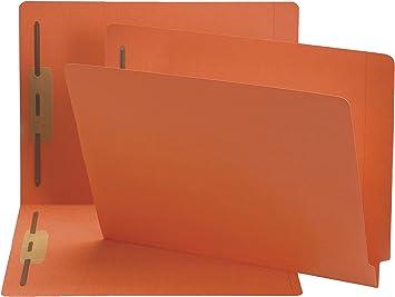 Straight Cut Smead Colored File Folders Letter Reinforced End Tab Orange 100//Box