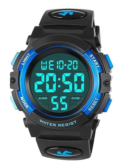Relojes Infantiles para niños, Reloj Deportivo Digital al Aire Libre a Prueba de Agua con Alarma/Cronómetro, Relojes de Pulsera Digitales Infantiles para ...