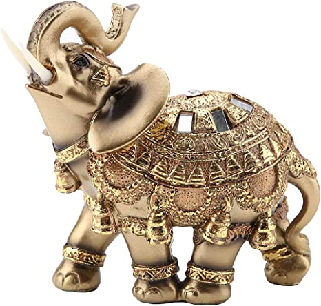 Pair of Resin Elephant Statue Ornaments for Lucky Wealth /& Decor Gold//Brown