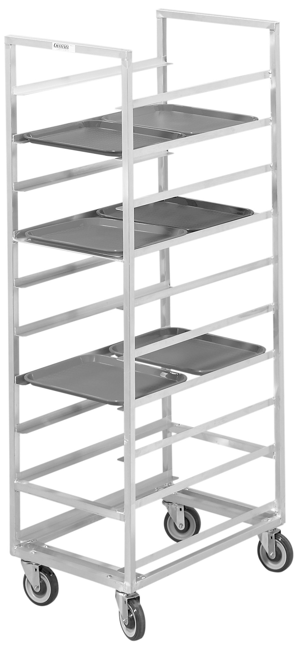 Channel Manufacturing 437A 40 Tray Bottom Load Aluminum Cafeteria Tray Rack - Assembled