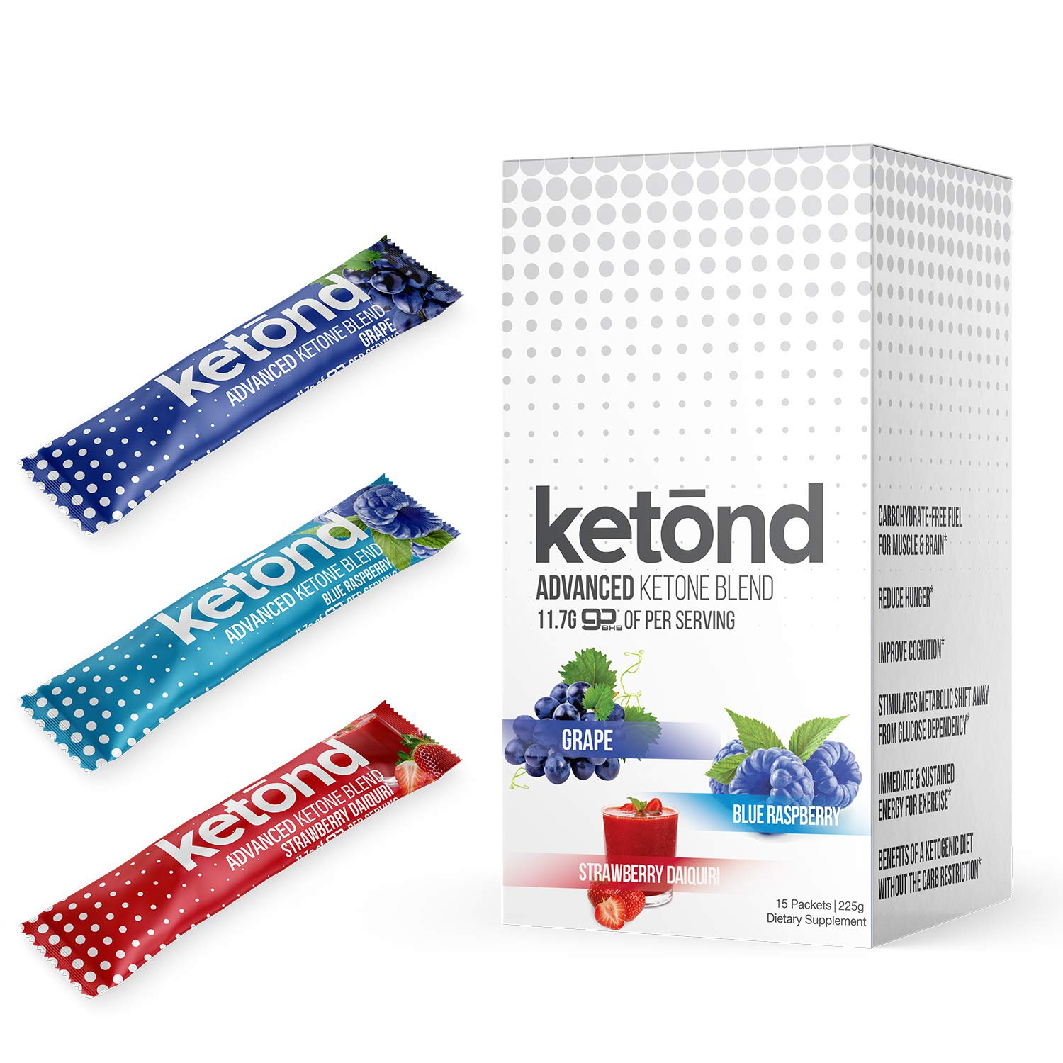 Ketond Advanced Ketone Supplement - 15 'On The Go' Packs - Exogenous Ketone Supplement 11.7g of BHB (Beta-Hydroxybutyrate) Salts to Lose Weight, Increase Energy (Grape, Blue Raspberry and Strawberry) by Ketond Nutrition