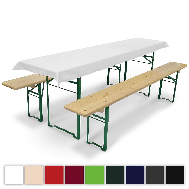 Beautissu Comfort XS Tischdecke für Bierzeltgarnitur - 70x240 cm Tischdecke für 50cm Tische - Weiß & weitere Farben