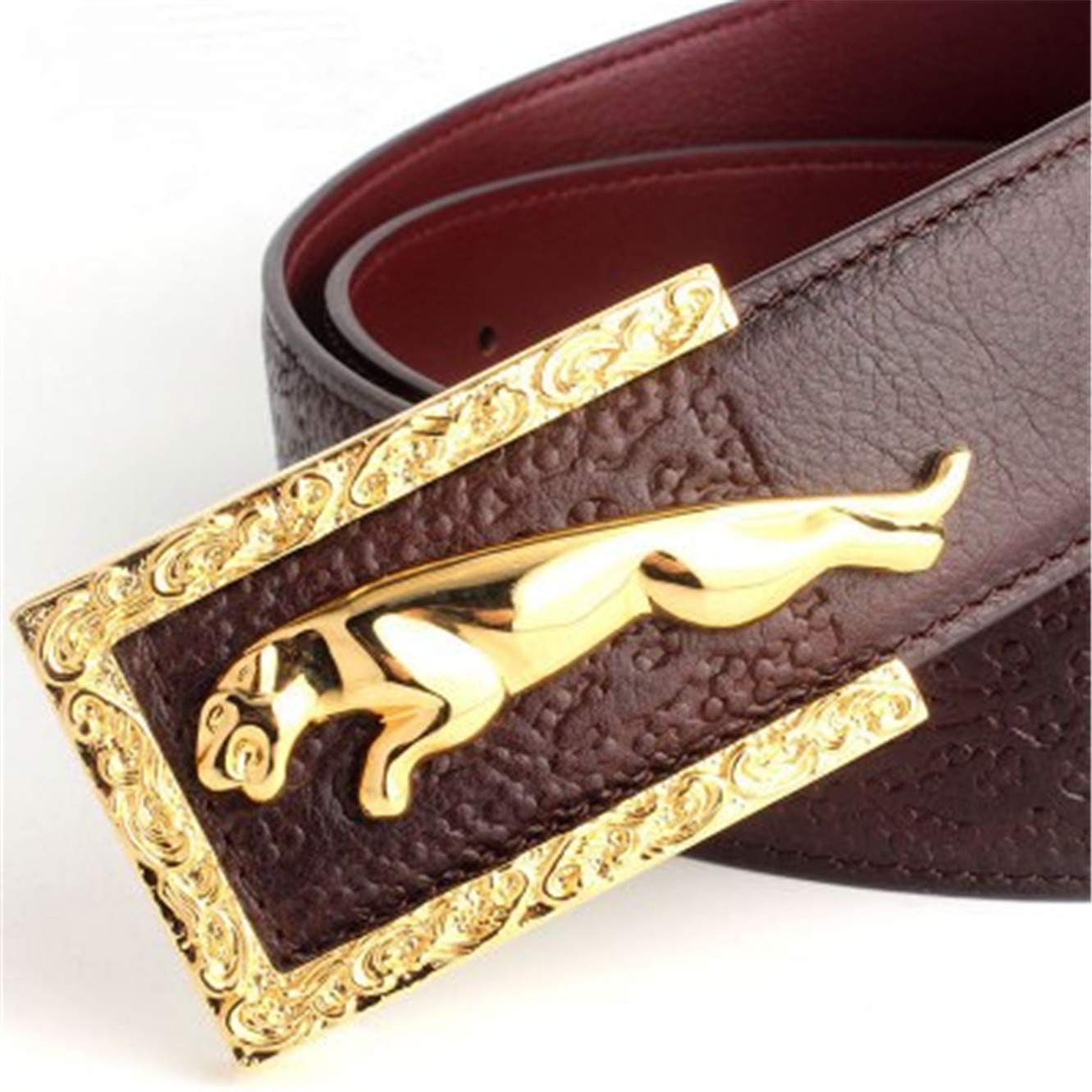 Mens fashion casual leopard buckle leather belt