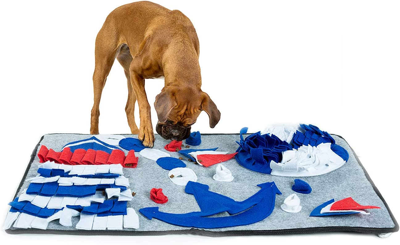 PetBOYA Dog Snuffle Mat with Navy Theme,Pet Feeding Mat Dog Training Pad,Encourage Foraging Skills for Intelligence Stimulation and Stress Release of Pets