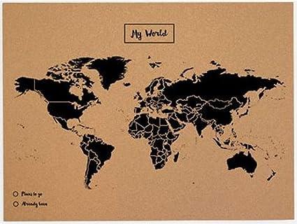 Miss Wood Map, Mapa del Mundo de Corcho, Natural/ Negro: Amazon.es: Hogar