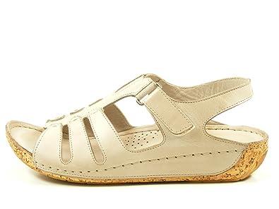 Gemini 32024-02 Schuhe Damen Sandalen Sandaletten Leder, Schuhgröße:41;Farbe:Weiß