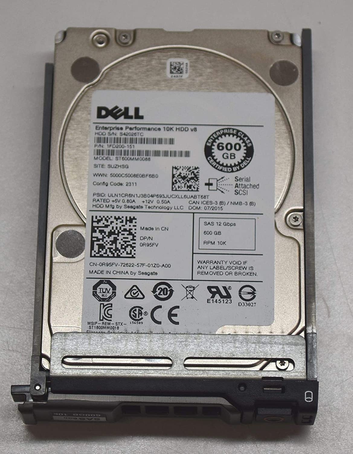 DELL 600GB 10K RPM SAS 2.5 INCH SFF Enterprise 12GB/S SAS3 Hard Drive Dell R95FV