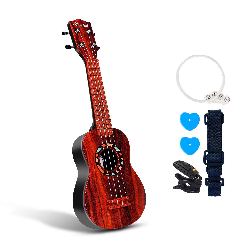 Juguete para ukelele de guitarra de 53 cm para niños con alas de pensamiento, 5 en 1, juguetes educativos para principiantes, Gourd Dark Think Wing
