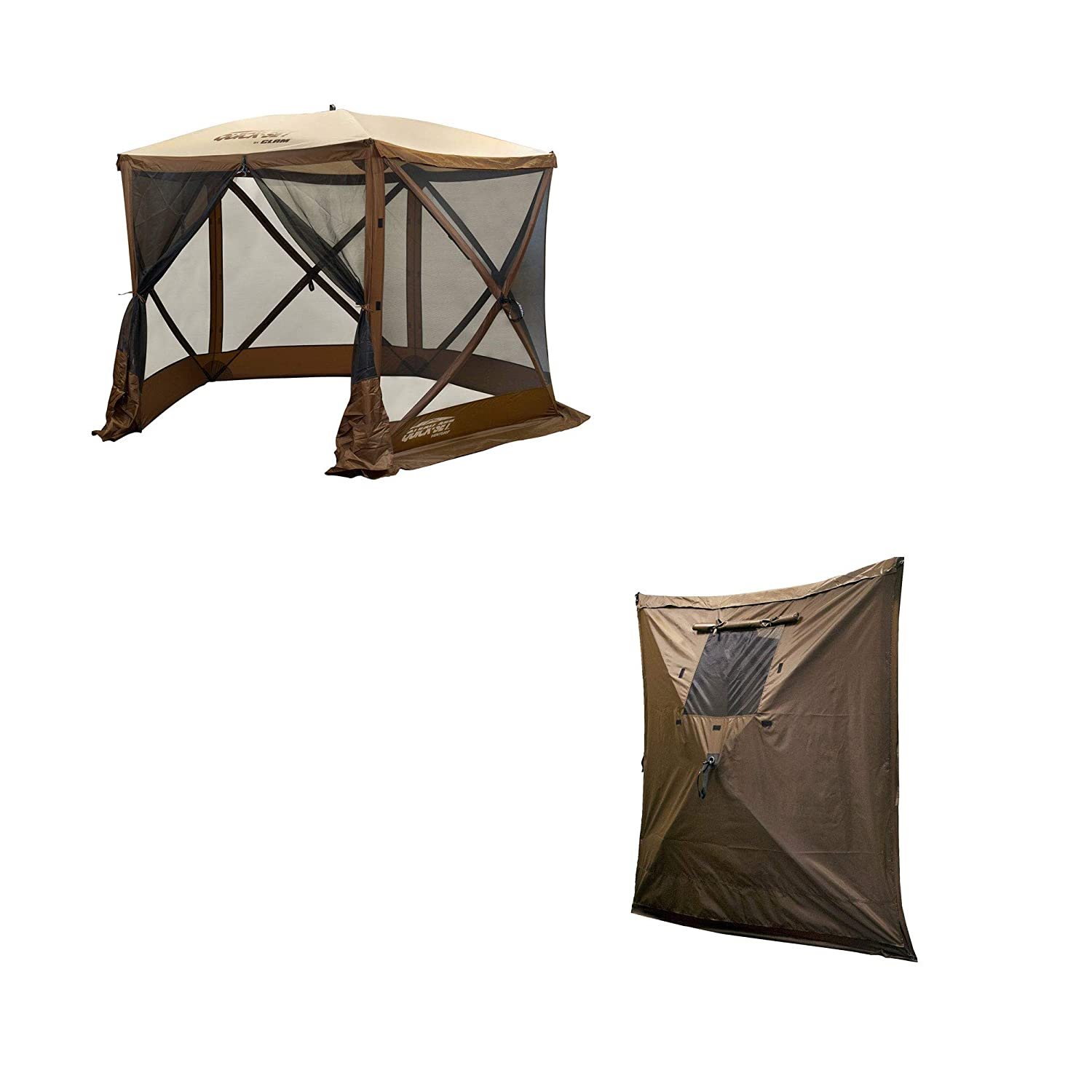 Clam PortableCanopy Shelter, Brown w  Clam Quick Set Wind & Sun Panels (3 Pack)