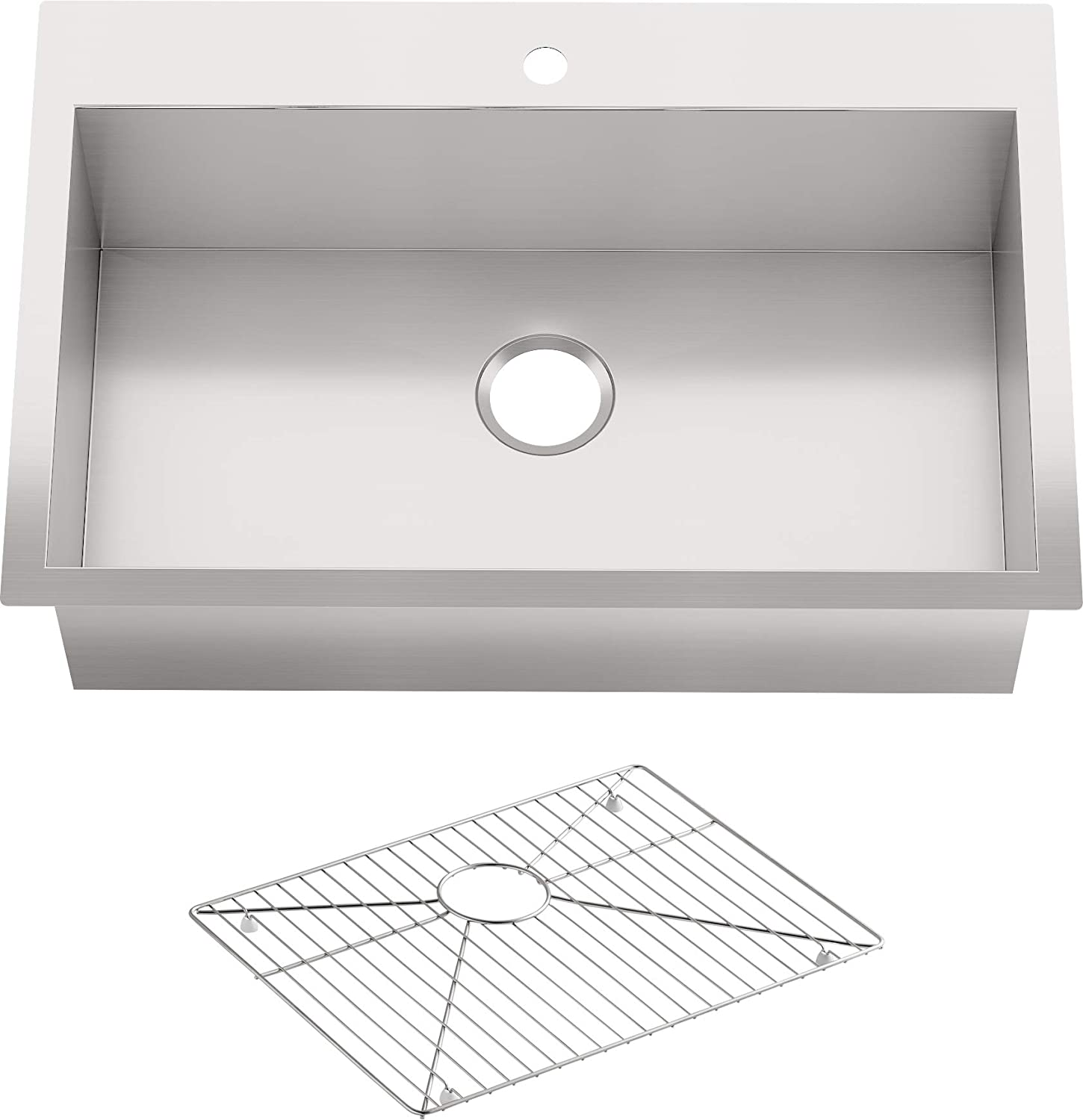Kohler Vault 33 Single Bowl 18 Gauge Stainless Steel Kitchen Sink With Single Faucet Hole K 3821 1 Na Drop In Or Undermount Installation 9 Inch Bowl Single Bowl Sinks Amazon Com
