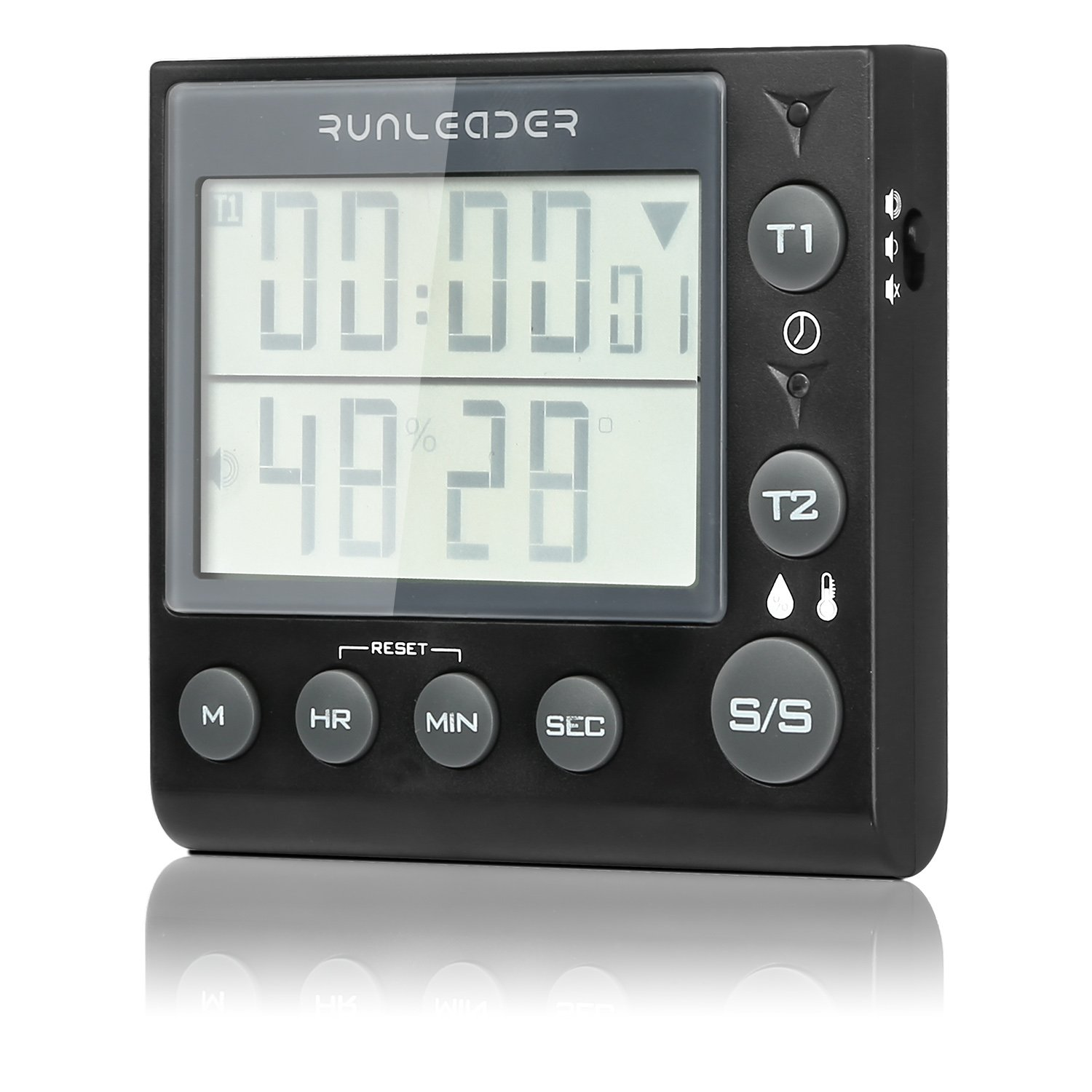 THYMY Digital Kitchen Timer Clock with Large LCD Loud Alarm Magnetic Suction Temperture and Humditity Display Memory Function Vertical Support for Cooking Backing Games Exercise Office