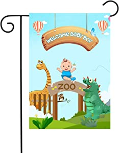 "Chien-Min666 Welcome Baby Boy Garden Flags Gender Reveal Outdoor Decorative House Yard Flag 12""W x 18"