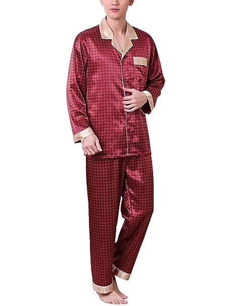 Feoya - Pijama de 2 Piezas de Hombre de Satén Impresión Retro Conjunto de Ropa de