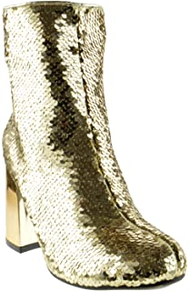 be90ed388c4a Forever Link Abigale 43 Womens Sequin Chunky Heel Ankle Booties