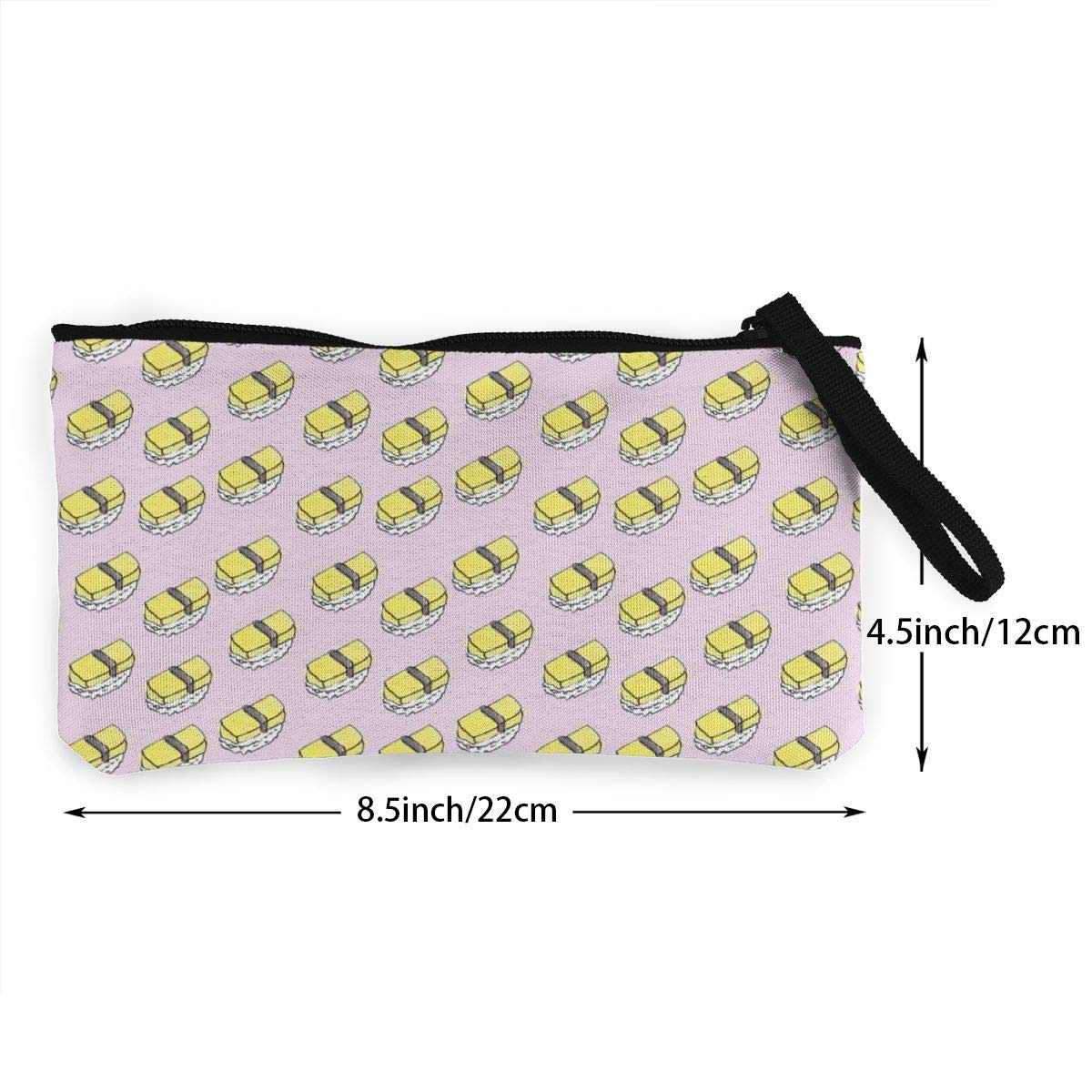 YUANSHAN Yellow Sushi Unisex Canvas Coin Purse Change Cash Bag Zipper Small Purse Wallets with Handle