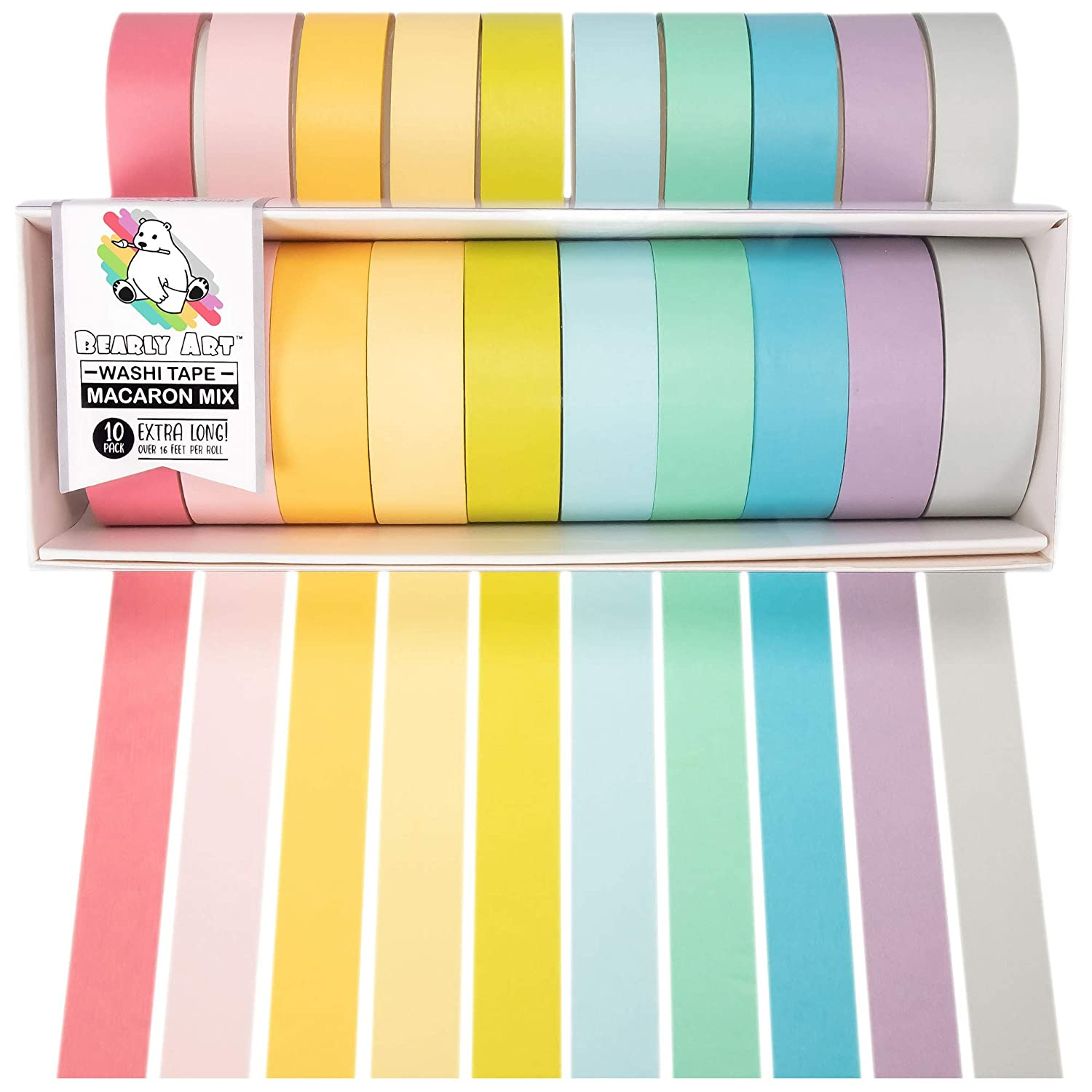 Bearly Art Washi Tape Set - Macaron Mix - 12 Pastel Colors Decorative Tape for DIY Crafts - Extra Long Rolls - Scrapbooking and Paper Crafts - 15mm Wide and 5m Long