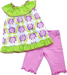 product image for Cheeky Banana Sweet Little Girl Tulip Ruffle Collar Tunic Set Lavender
