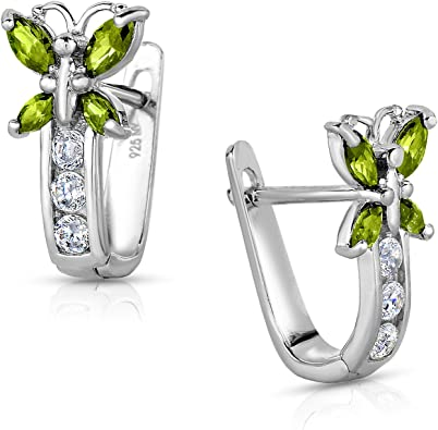 925 Sterling Silver Multicolor CZ Butterfly Hoop Huggie Girls Small Earrings