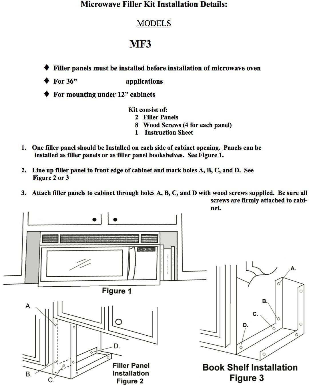 Installation of microwaves over the range - Amazon Com Universal Stainless Steel Over The Range L Shaped Microwave Fill Filler Kit Fills A 36 Wide By 15 3 4 Tall Spot Mf3 Ss Appliances