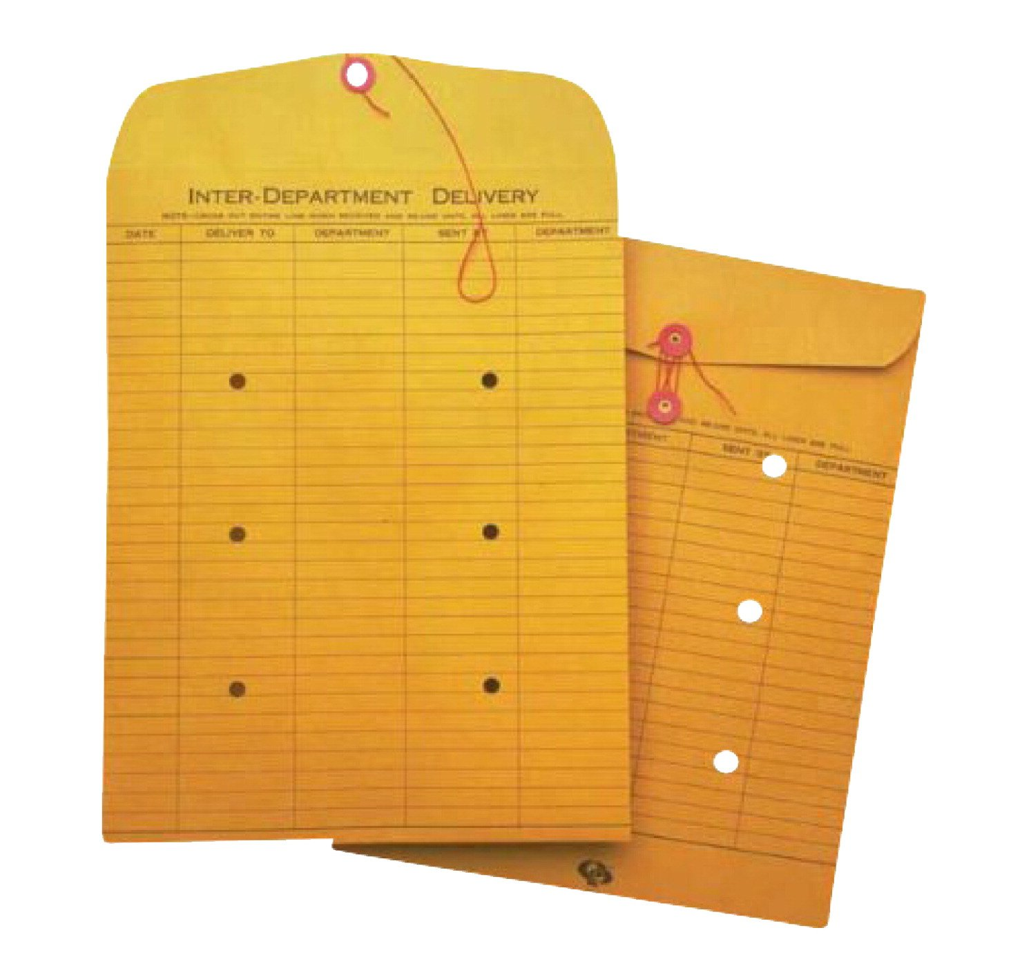 School Smart 85057 Inter Department Envelopes with String Button Closure - 10 in x 13 in - Box of 100