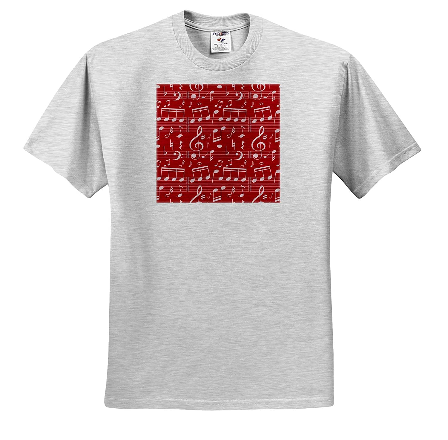 Patterns Red and Off White Musical Notes Pattern 3dRose Anne Marie Baugh ts/_317663 Adult T-Shirt XL