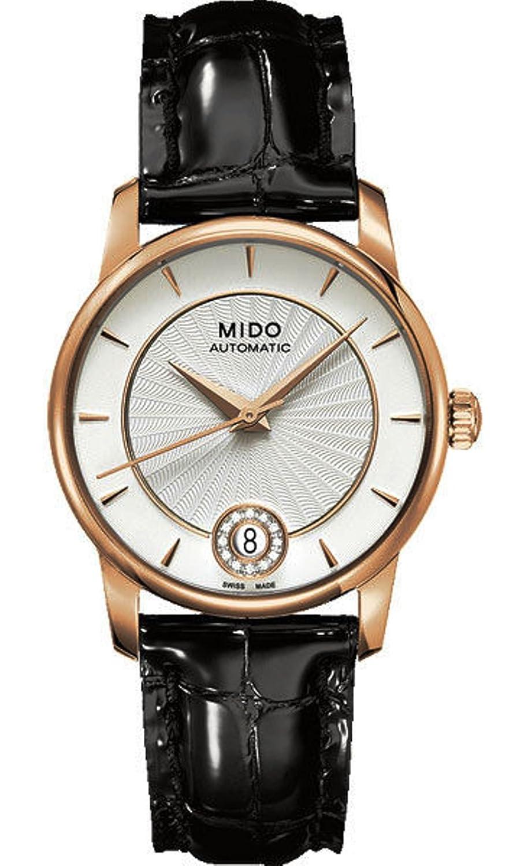 Mido Baroncelli Automatisch Silber Zifferblatt Schwarz Leder Damen Watch M0072073603600