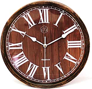 """Classic Roman Number Vintage Wall Clock, Wood-Simulated Vintage Bronze, Non-Ticking Silent Sweep Quartz Movement, Antique Style, 12.6"""" Diameter, Plastic Frame, ABS Glass (WoodBrown)"""
