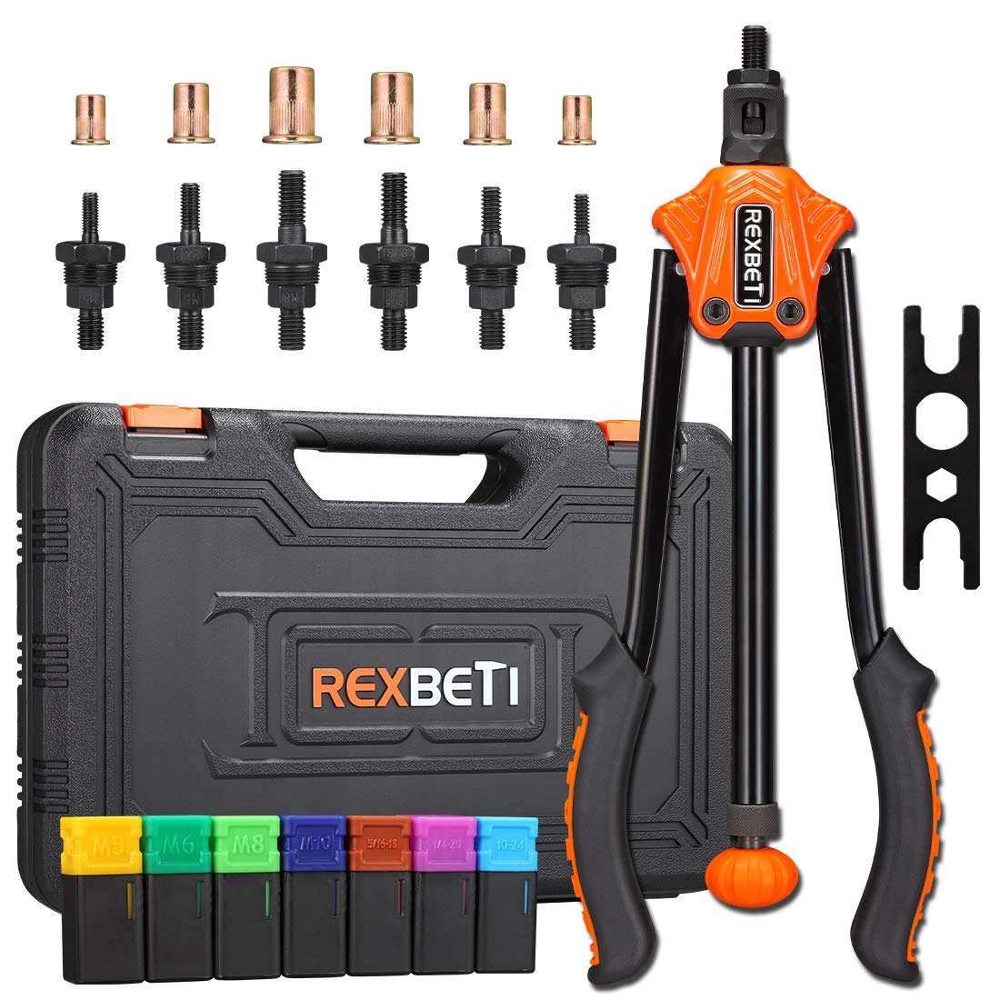 REXBETI 14'' Auto Pumping Rod Rivet Nut Tool, Professional Rivet Setter Kit with 7 Metric & SAE Mandrels and 70pcs Rivnuts, Upgraded Labor-Saving Design, Rugged Carrying Case