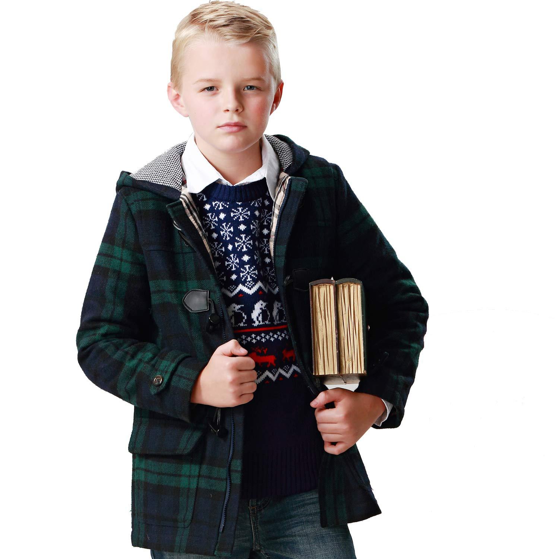 Leo&Lily Big Boys Green Checks Melton Wool Coats Outwear Jackets (14, Green)