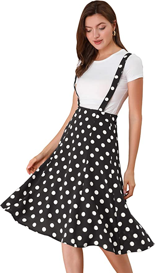 What Did Women Wear in the 1950s? 1950s Fashion Guide Allegra K Womens Vintage Polka Dots Overall Dress 1950s Flowy Suspender Skirts  AT vintagedancer.com