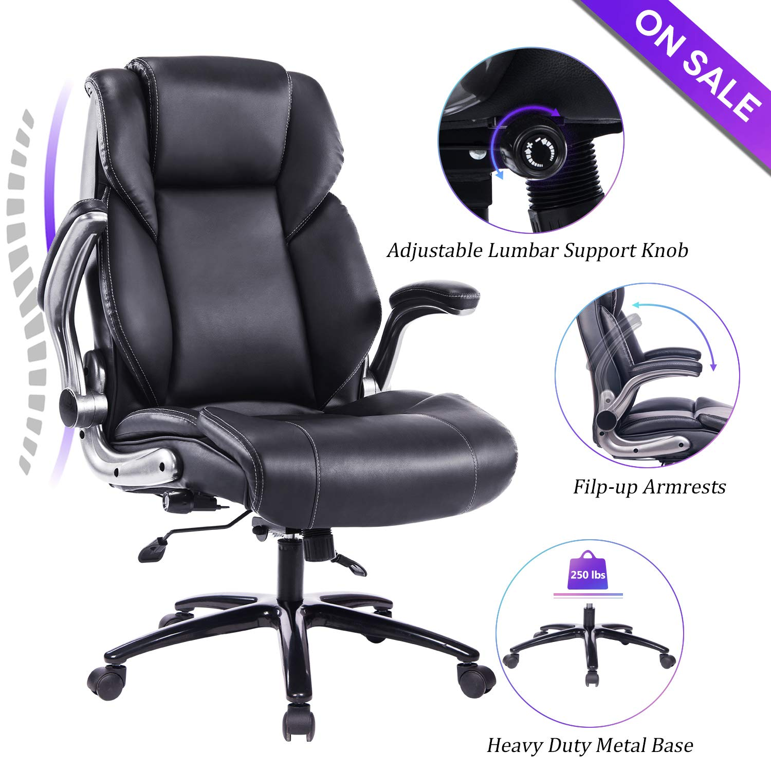 VANBOW Office Chair, Executive Computer Desk Task Swivel High Back Chair with Metal Base- Adjustable Built in Lumbar Support, Tilt Angle and Flip-Up Arms, Black