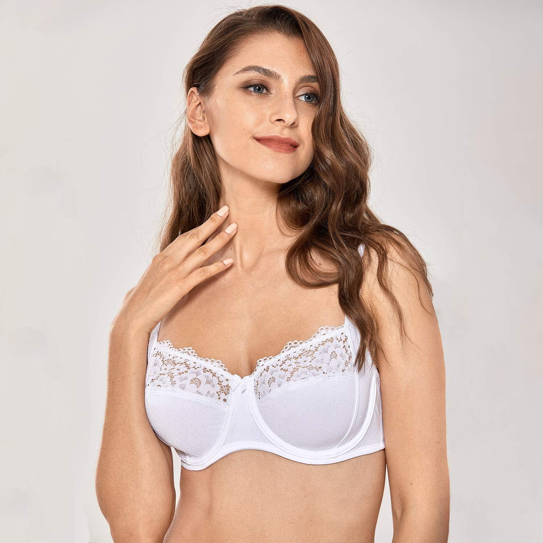 DELIMIRA Femme Soutien-Gorge /à Armatures Dentelle Grande Taille Non Rembourr/é