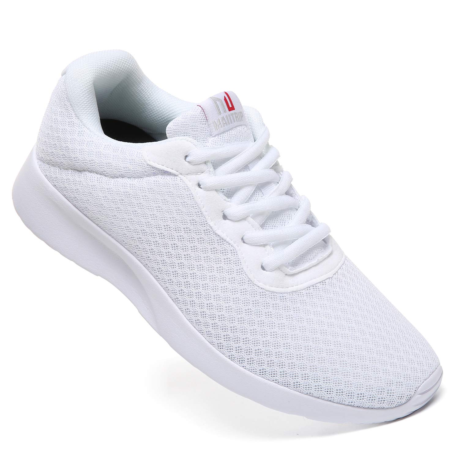 MAIITRIP Mens Gym Shoes,Athletic Running Shoes,Lightweight Breathable Mesh Casual Tennis Sports Workout Walking Sneakers,All White,Size 7