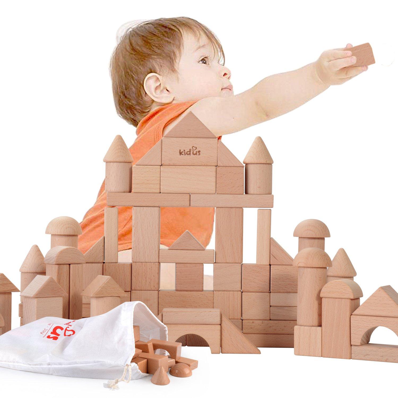 驚きの価格 Wooka天然木製Building Blockセット80ブロックのナチュラルカラー、9図形 B07C3NSZWM、子供たちのデラックスStackingブロックおもちゃセット B07C3NSZWM, ゼネラルステッカー:45f59f19 --- dou13magadan.ru
