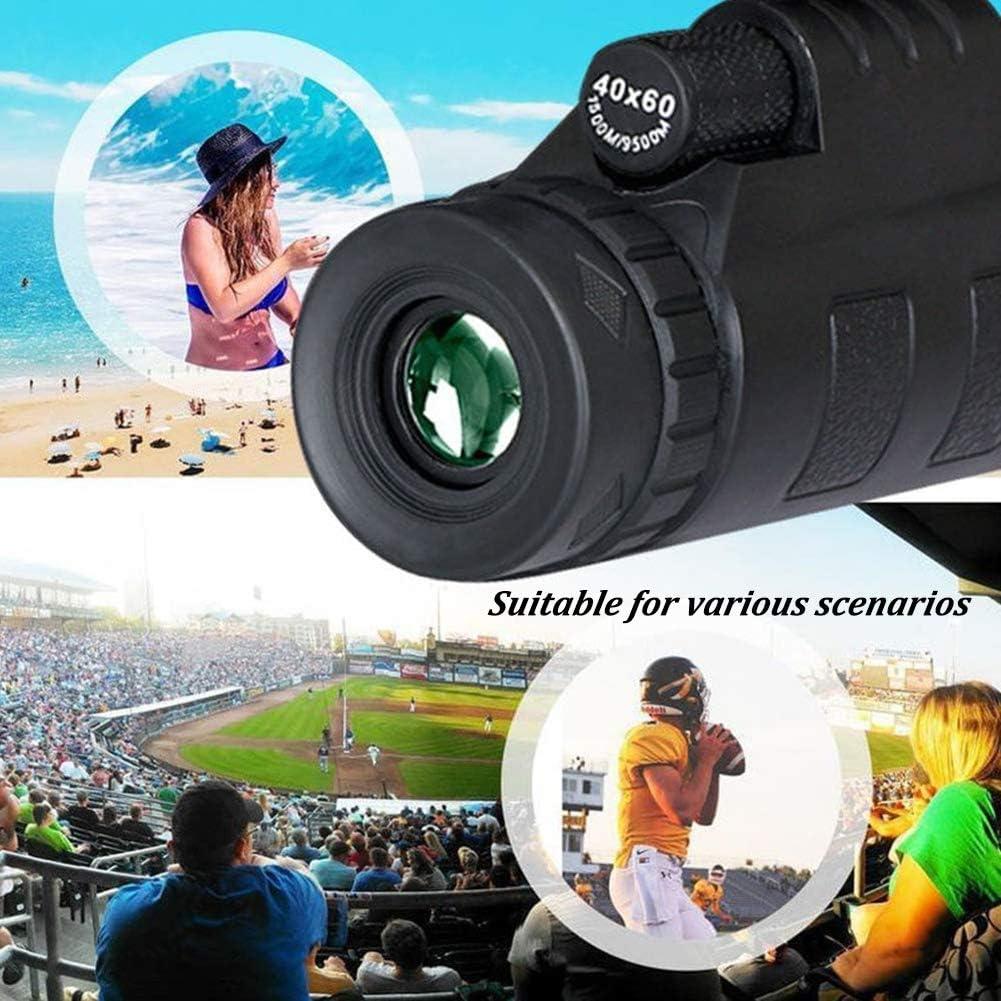 Telescopio monocular de Alta Potencia BAK-4 HD de 40 /× 60 con Soporte para Smartphone y tr/ípode telescopio de Zoom Impermeable