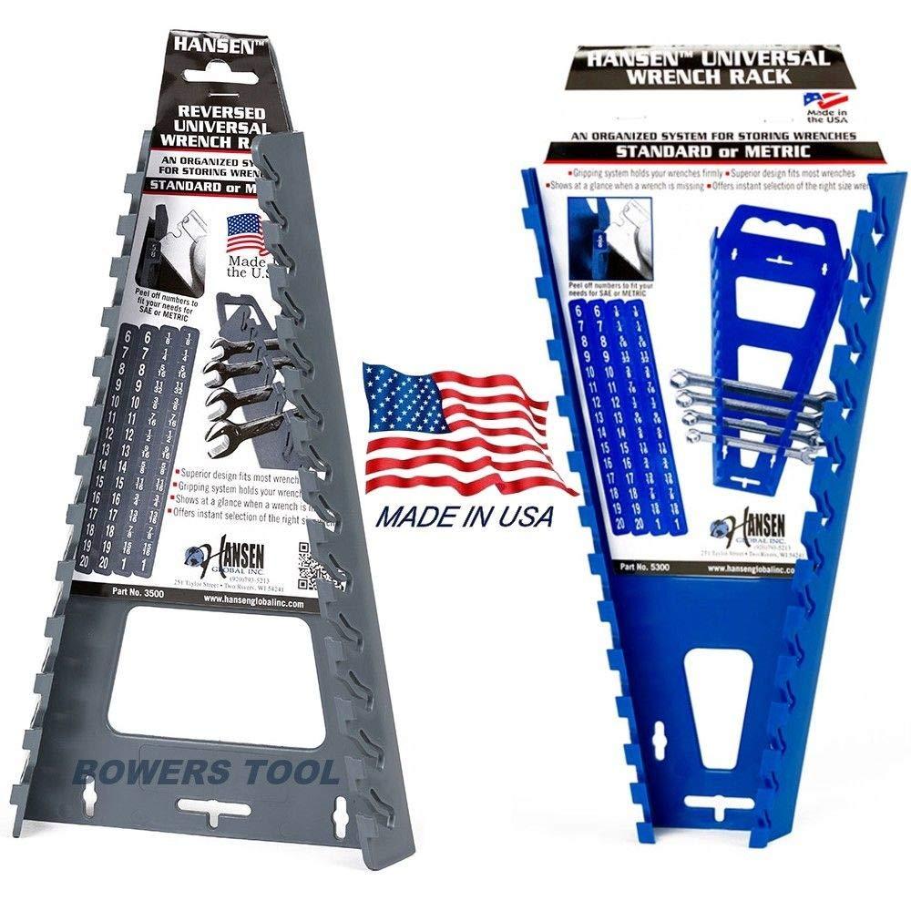 OlimP-Shop Hansen 2pc Metric & SAE Wrench Rack Tray Holder Organizer Set Qick-Pik USA Made