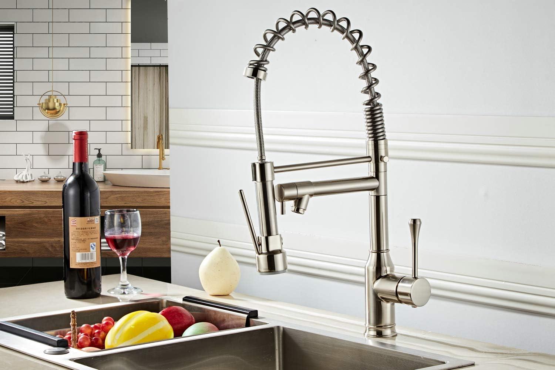 Beelee BL7091N nickel bross/é Robinets de lavabo de cuisine /à un seul levier arc moderne laiton Robinet de cuisine /à usage professionnel avec pulv/érisateur /à tirette