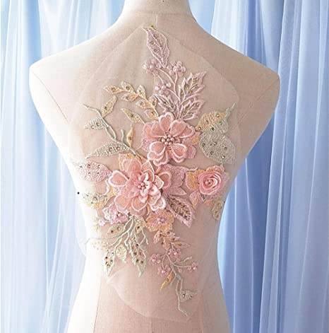 Floral Lace Embroidery Dress Decor Patch Sequins Rhinestone 3D Flowers Applique*