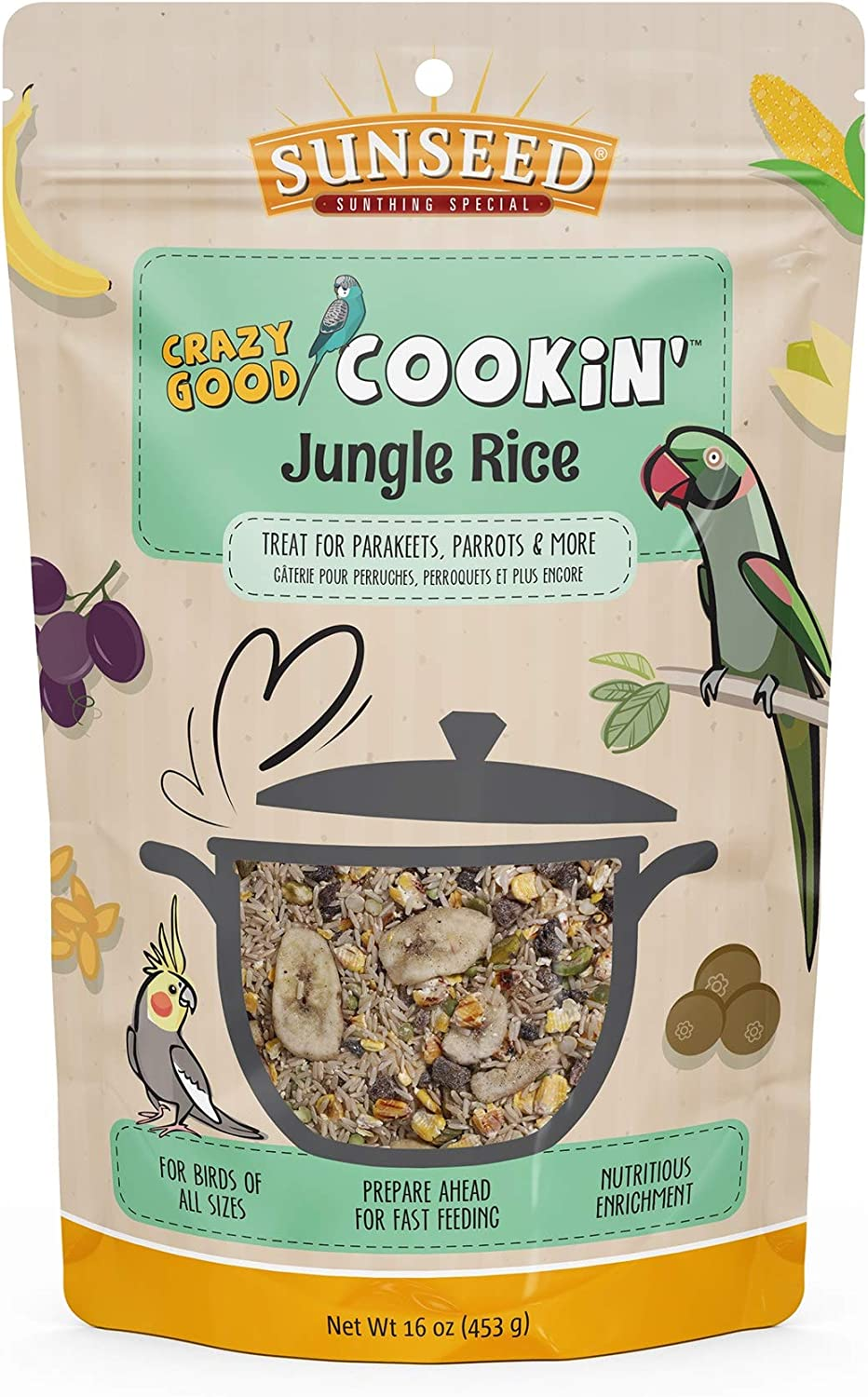 Sunseed Crazy Good Cookin Bird Treat, 16 Ounces, Jungle Rice with Bananas Dates and Pistachios, Brown