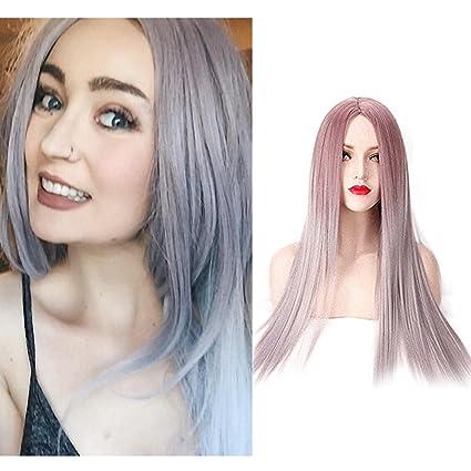 Feshfen Peluca de pelo auténtico, 80 cm, color gris, para mujer