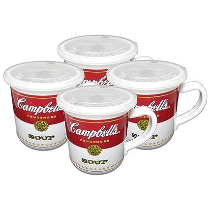 Amazon.com | Campbell\'s Soup 14 Ounce Microwaveable Travel Mug, Set ...